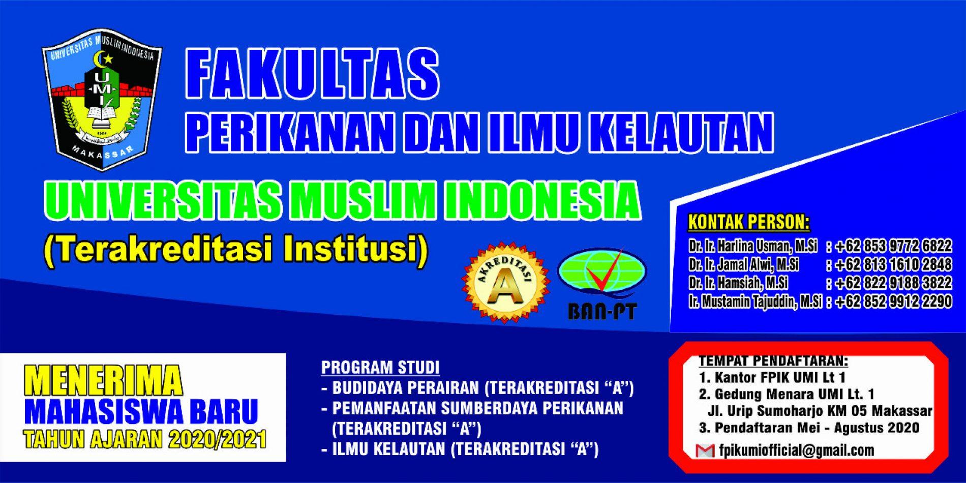 Pendaftaran Mahasiswa Baru Fakultas Perikanan dan Ilmu Kelautan UMI Tahun 2020/2021