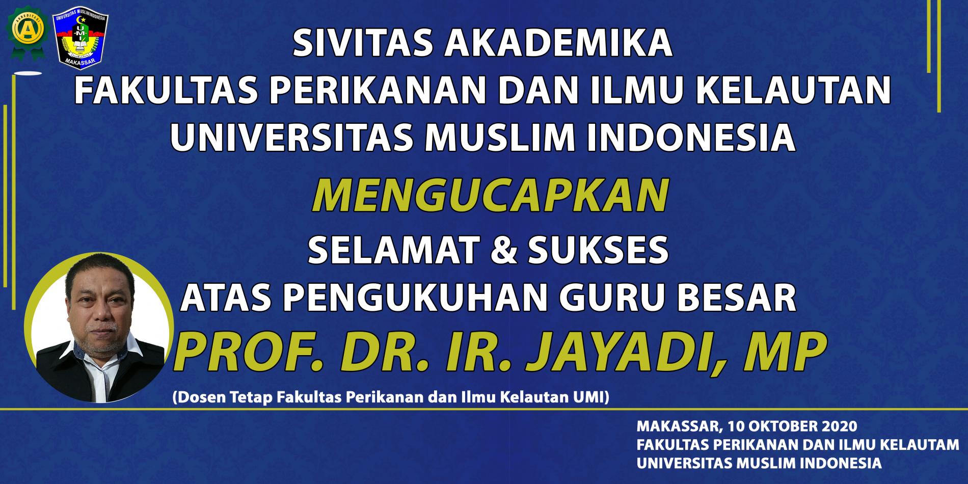 Pengukuhan Guru Besar Prof. Dr. Ir. Jayadi, MP